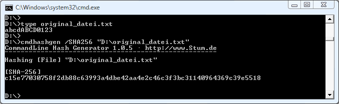 Anwendung der SHA-256-Prüfsumme